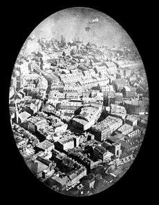 First aerial photo. Taken by Frenchman Felix Tournachon.