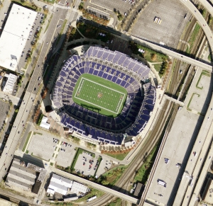 Mosaiced images of M&T Bank Stadium, Baltimore, MD.
